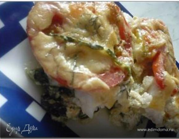 Запеканка с рыбой и шпинатом