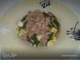 Похлебка с черными бобами и мясом черного бычка + цукини с ананасом и чесноком