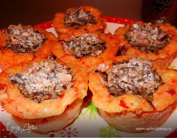 Закусочные корзиночки с грибами