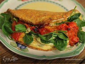 Омлет со шпинатом и помидорами черри