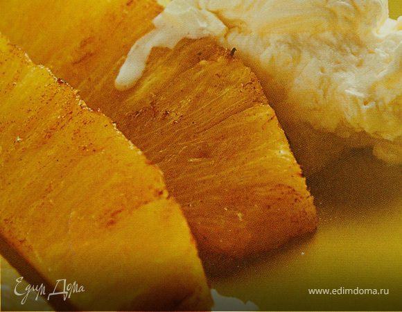 Ананасы на гриле со свежим сырным кремом
