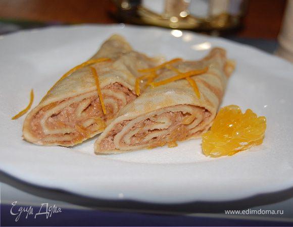 Блинчики с апельсиново-ореховой начинкой