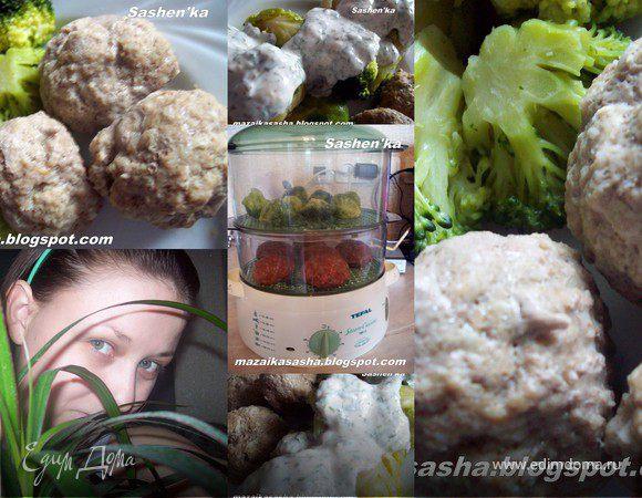 Котлеты из говядины с овощным гарниром на пару с йогуртовым соусом