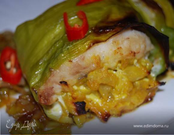 Рыбное филе в листьях лука-порея