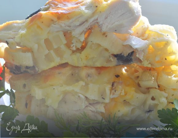 Запеканка из макарон с грибами и курицей