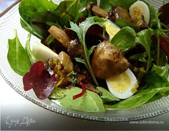 Теплый грибной салат