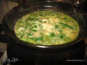 Зеленый суп в горшочке