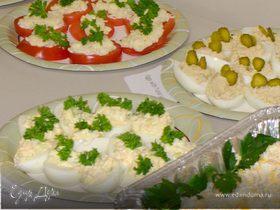 Яйца фаршированные тунцом и лососем