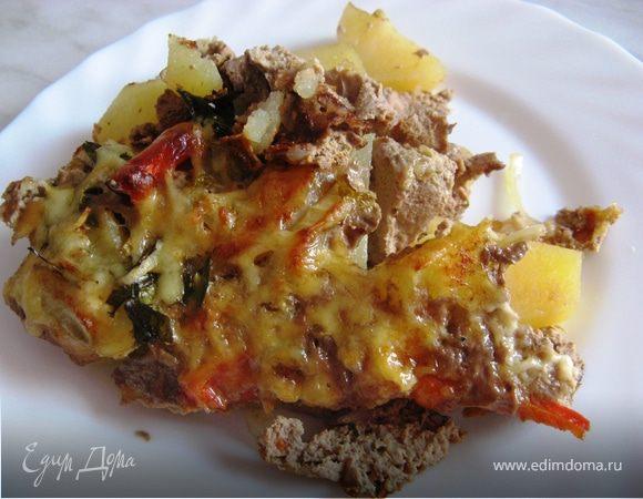 Картофель, запеченный с овощами в паштете из куриной печени