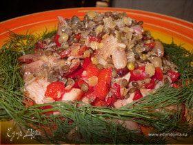 Салат из чечевицы с беконом