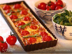 Киш с беконом и помидорами черри