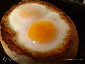 Фаршированный хрустящий хлебушек с яичной шапкой