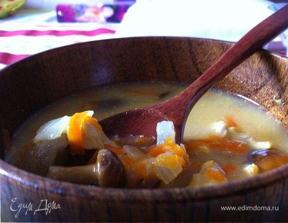 Сырный суп с грибами и курицей