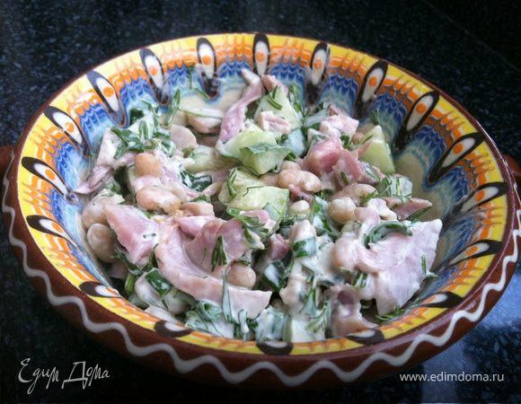 Салат с копченой курочкой
