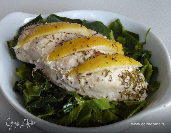 Куриное филе с лимоном и молодой капустой