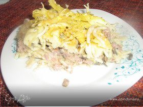 Запеканка из спагетти с бараниной и грибами
