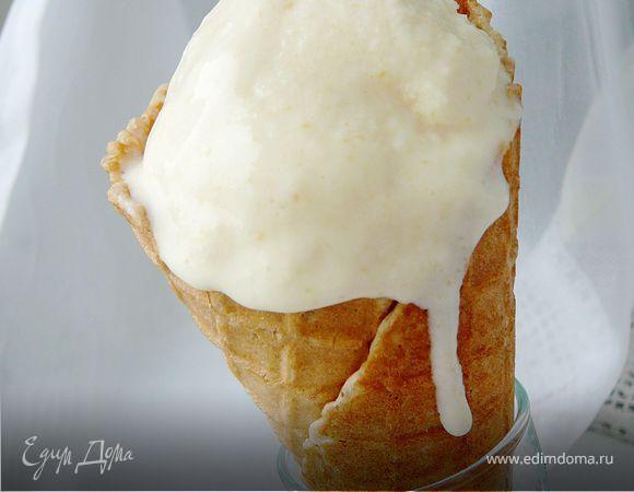 Мороженое из консервированных персиков