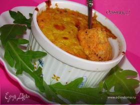 Нежное овощное суфле с курицей и сыром