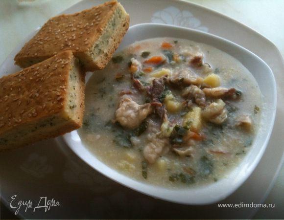Суп с бараниной и сыром сулугуни и пирог к нему