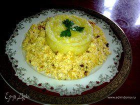 Мамалыга с жареным адыгейским сыром