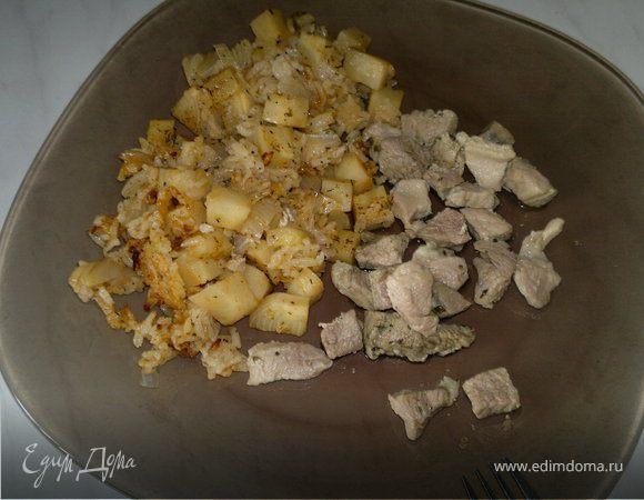 Рис с корнем сельдерея и свинина с травами