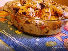 Запечённая курица с рисом и овощами
