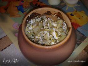 Картошка с рыбой в сметане, запеченная в горшочке