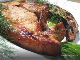 Свиная корейка с баклажанами в аэрогриле