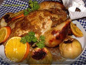 Курица в горчично-медовой глазури, с яблоками и апельсинами