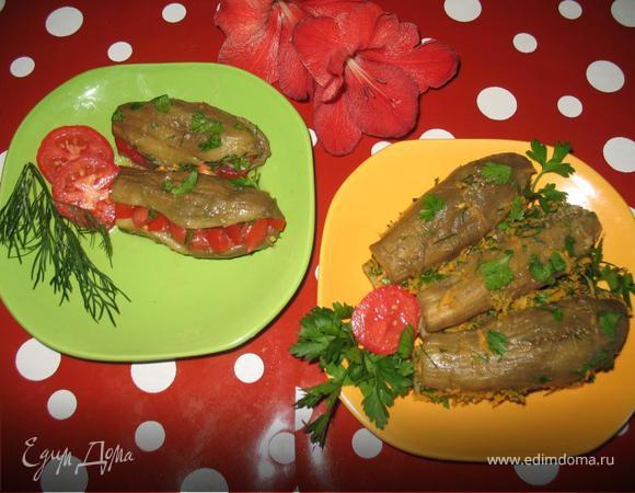 Баклажаны маринованные, фаршированные морковью или помидорами