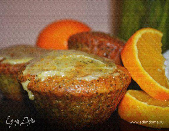 Апельсиновые капкейки с маком и ванильной глазурью
