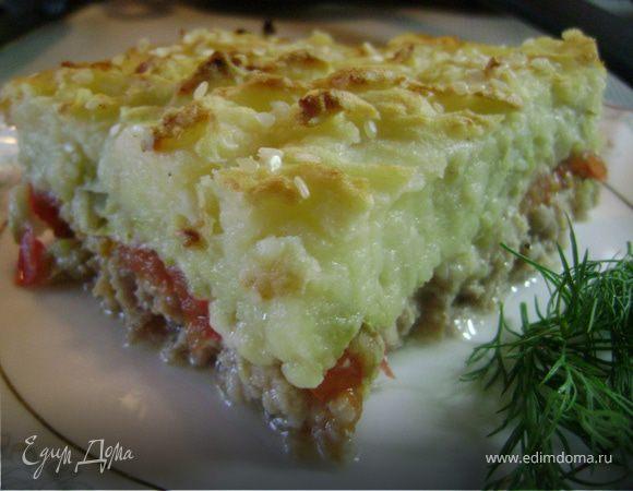 Слоеная запеканка с мясом и сыром