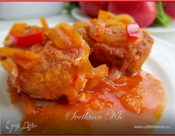 Судак в томатно-овощной заливке