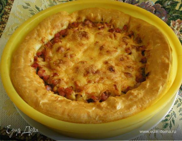 Пирог с ветчиной и сыром из заварного теста