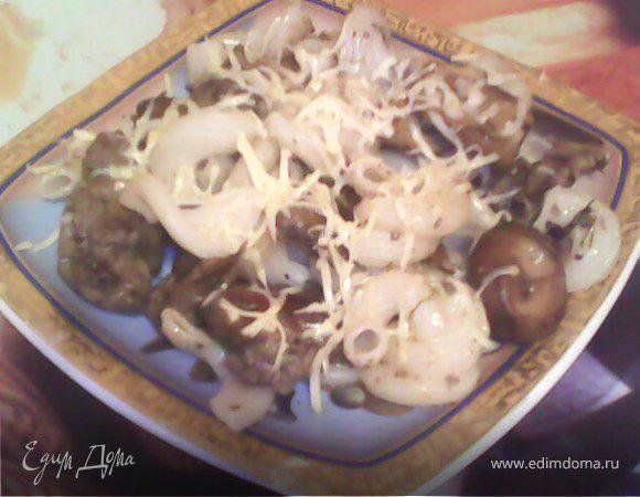 Паста с печеночно-грибным соусом