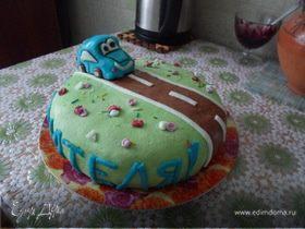 """Морковный торт с вишней """"С Днем водителя!!!"""""""