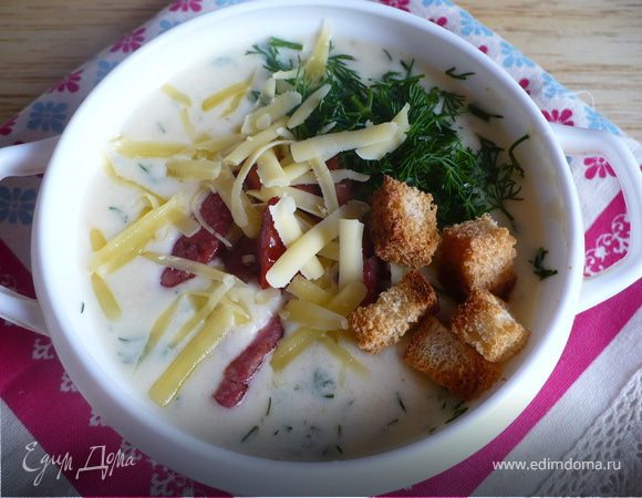 Сырно-овощной суп с копченостями