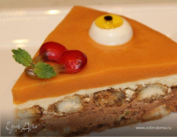 """Шоколадно-лаймовый торт с хурмой """"Взгляд Циклопа"""""""