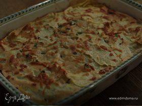 Лазанья с грибами, козьим сыром и шпинатом