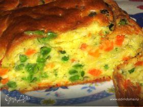 Закусочный кекс с морковью и зеленым горошком