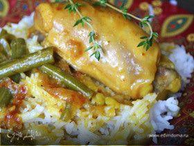 Индийское карри с курицей и спаржевой фасолью