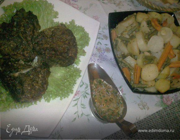 Антрекот в ореховом маринаде с овощами