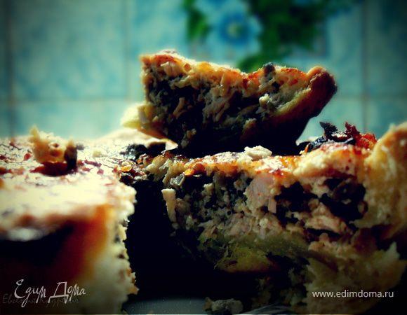 Лоранский пирог с курицей и грибами