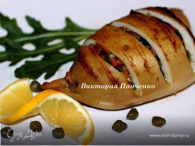 Кальмары, фаршированные овощами