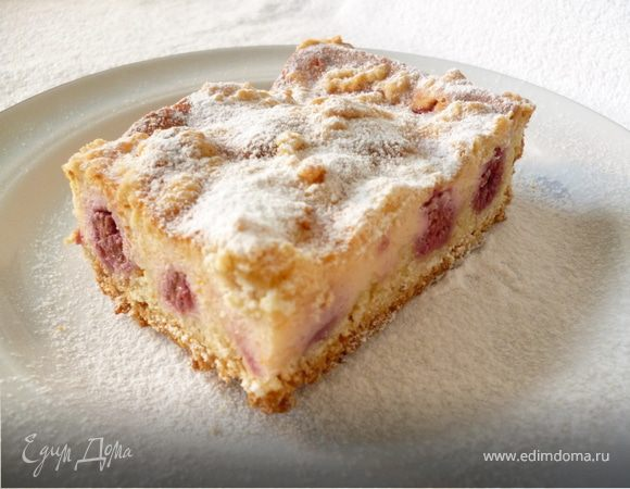 Творожный пирог с малиной