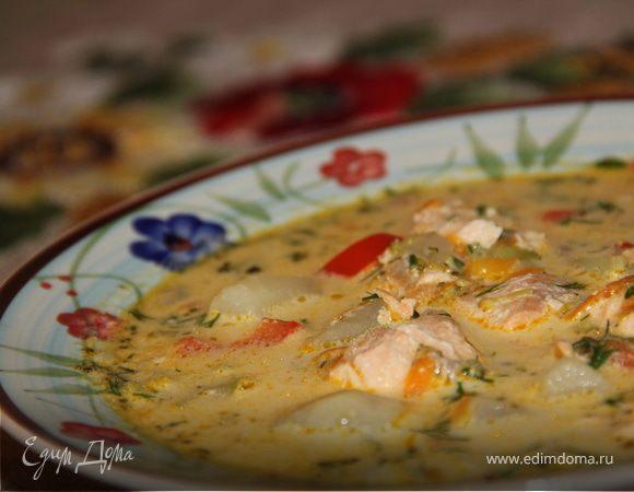 Сливочный суп с семгой и брокколи