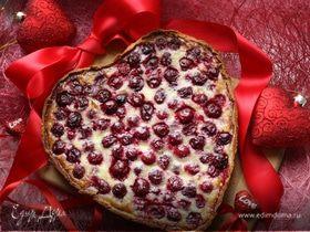 """""""Мое вишневое сердце"""", или праздничный вишневый тарт с миндалем"""