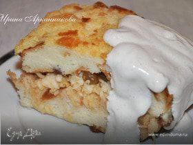Пирог из черствого батона с яблоками и изюмом