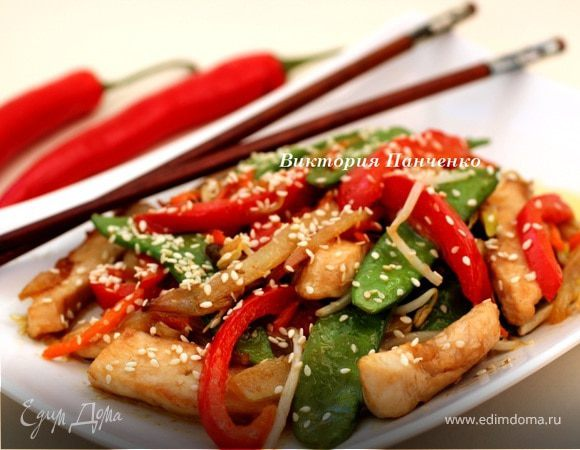 Стир фрай из курицы с овощами