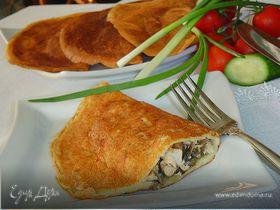 Блинчатые пирожки с начинкой из курятины и грибов